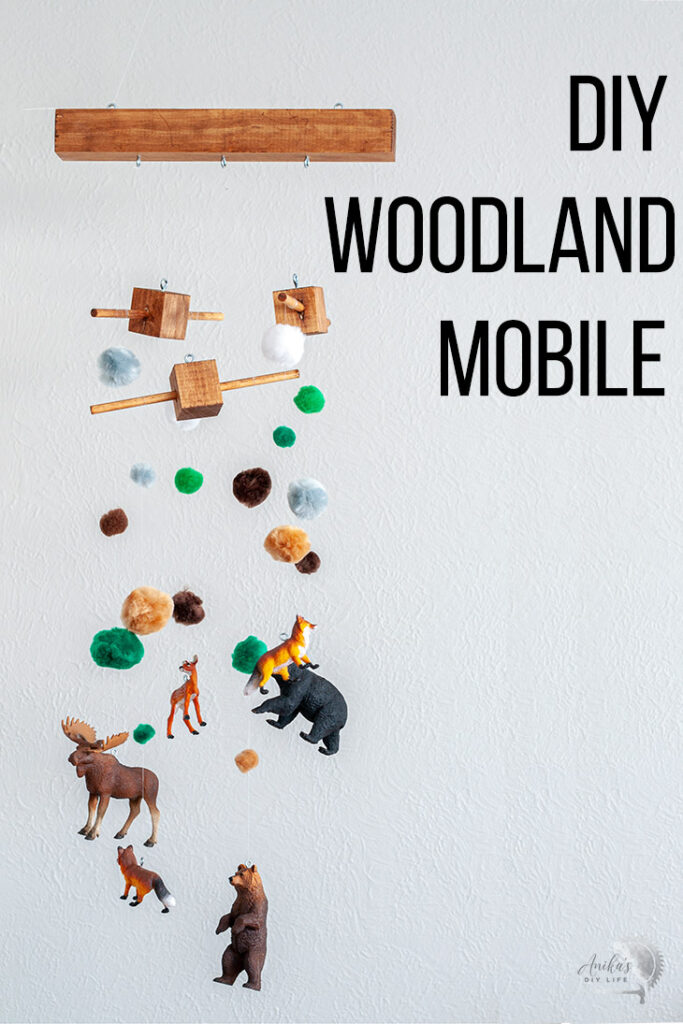 DIY woodland mobile with text overlay
