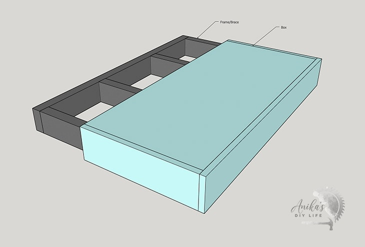 diagram of a DIY floating shelf