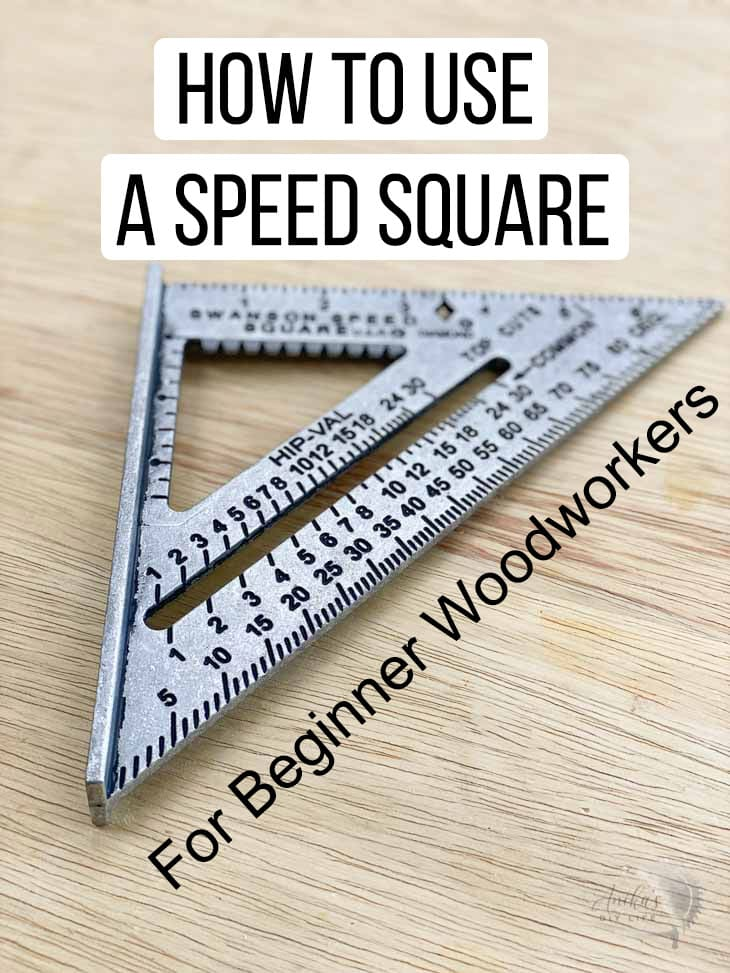 speed square on a workbench with text overlay