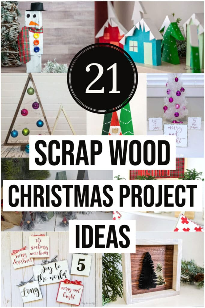 Collage of DIY scrap wood christmas projects with text overlay
