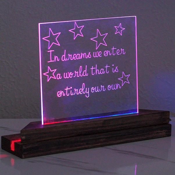 Learn all about engraving acrylic with the Cricut Maker and how to make a personalized gift - an LED night lamp!
