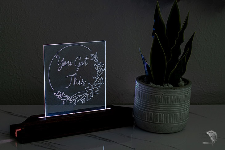DIY nightlight using acrylic engraved on Cricut
