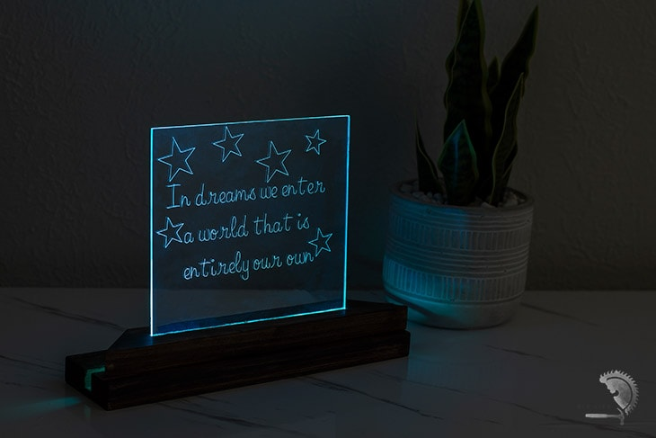 DIY nightlight using acrylic engraved with sleeping quote on Cricut