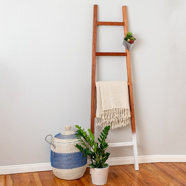 Learn how to make an easy DIY blanket ladder using only 2 power tools! Build it in under an hour with the step by step plans and video!