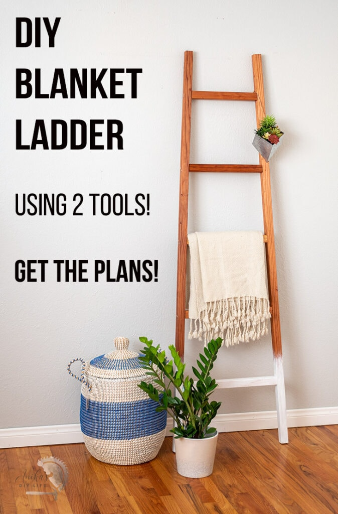 wooden DIY blanket ladder against wall