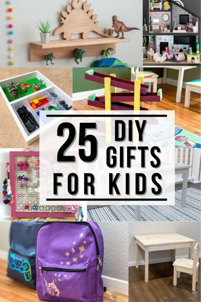 collage of diy gifts for kids with text overlay