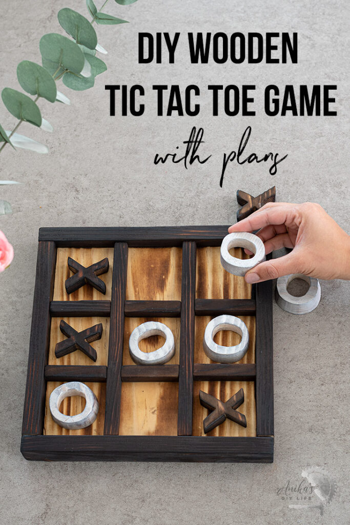 Playing wooden tic-tac-toe on the coffee table with text overlay