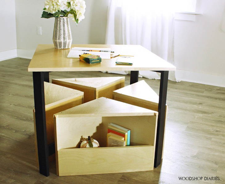 DIY kids desk with nesting seats with storage
