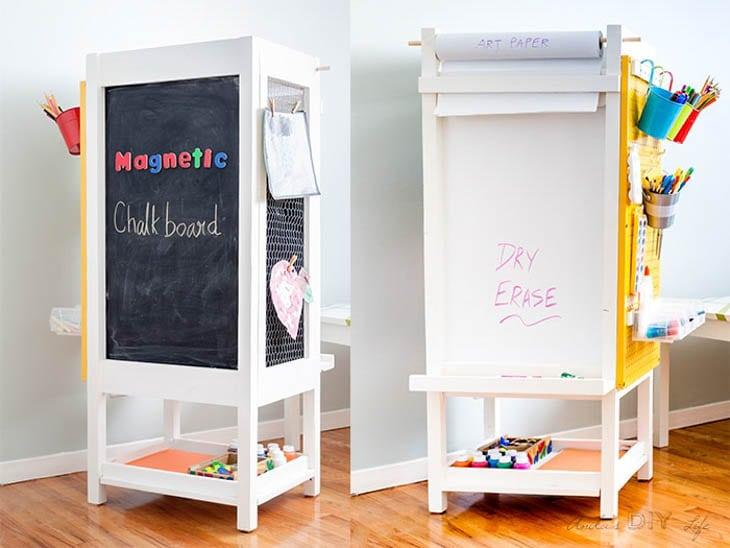 2 views of DIY kids art station, chalkboard side and dry erase side