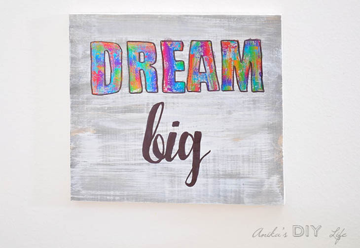 Dream big wall art made with deco foil