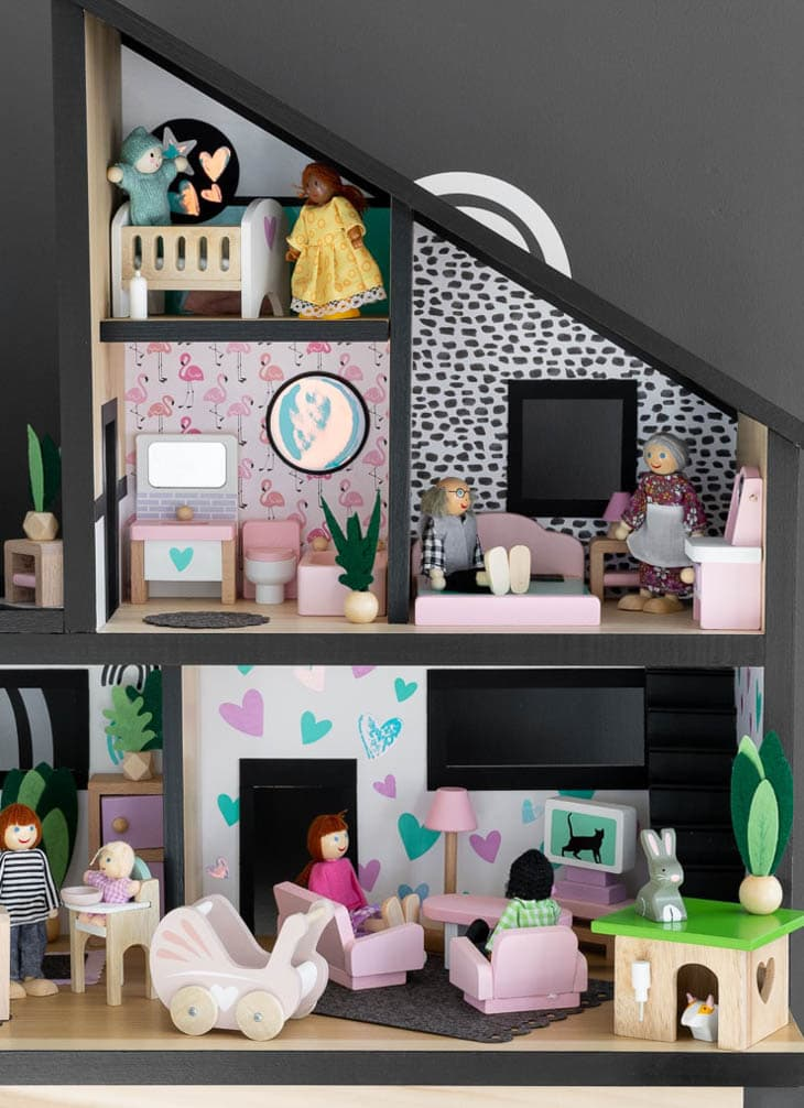 DIY dollhouse decorated with accessories
