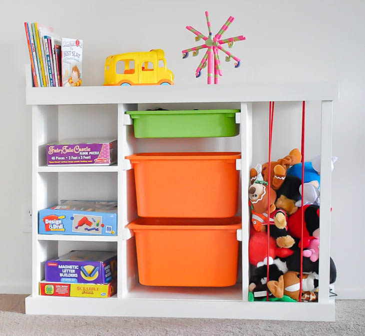 kids toy organizer with bins and shelves and stuffed animal holder