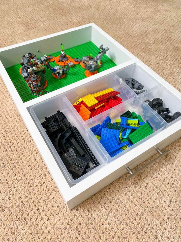 DIY lego tray with play area on one side and storage on the other side
