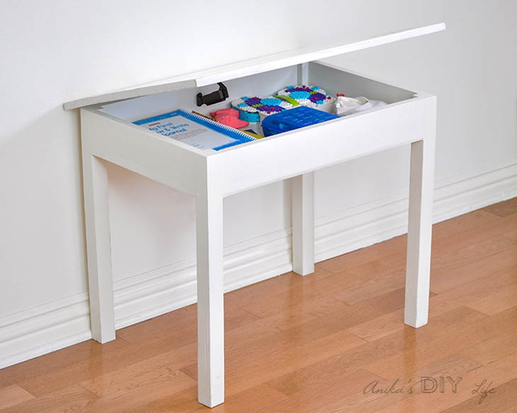 white painted kids table with storage with lid open