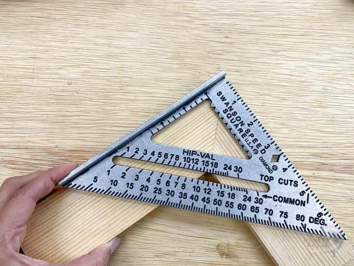 Checking mitered corner using a speed square