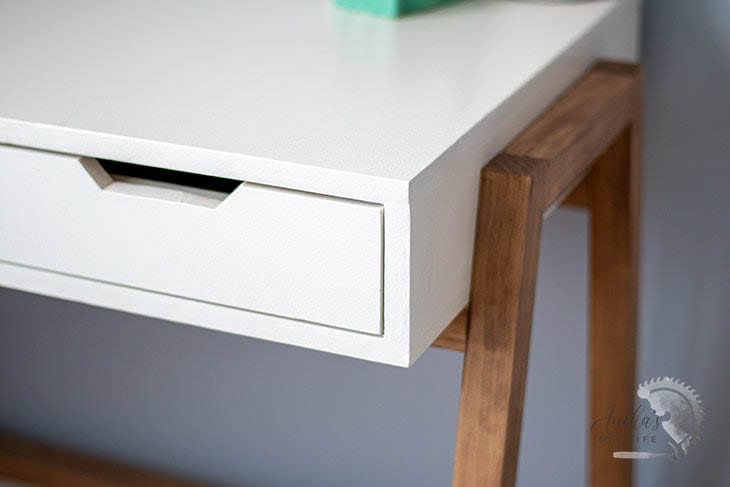 Close up of painted plywood desk showing how to paint plywood for a  smooth finish