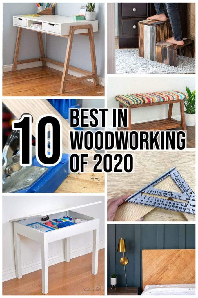 collage of easy DIY woodworking projects with text overlay.