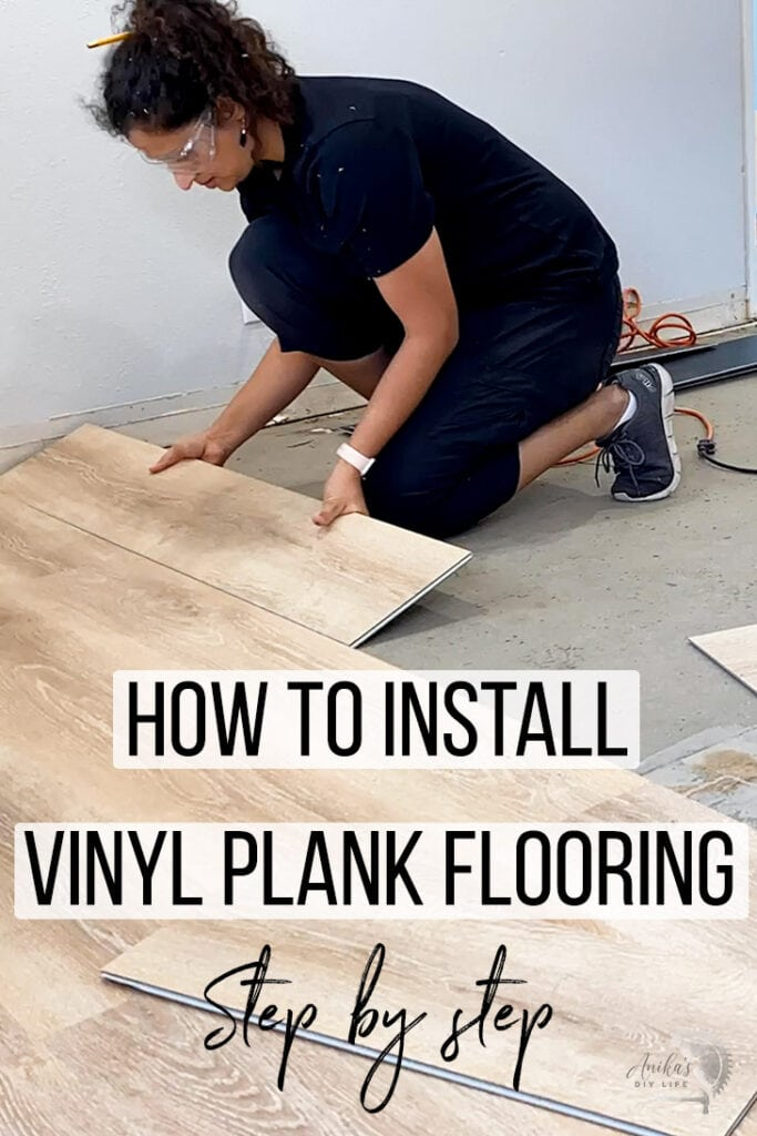 woman installing vinyl plank flooring in kitchen with text overlay