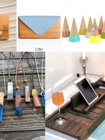 collage of wood gift ideas for women