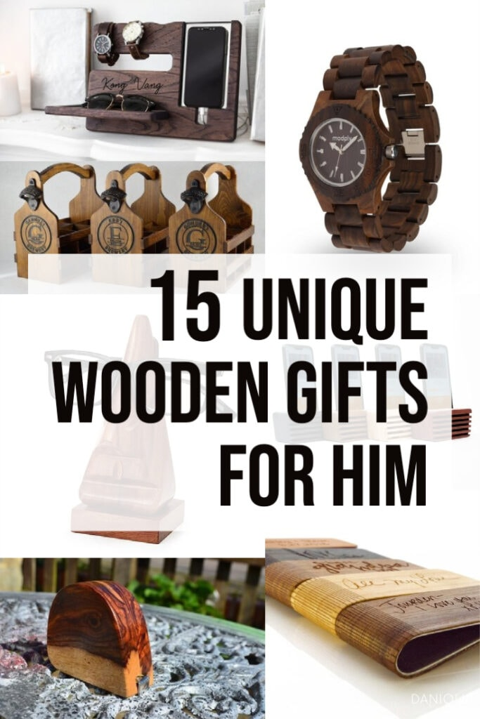 image collage of wooden gifts for men