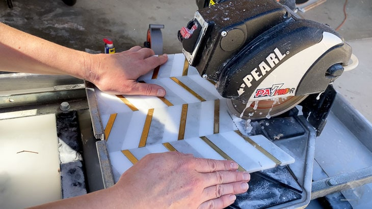 cutting mosaic tile on the wet saw