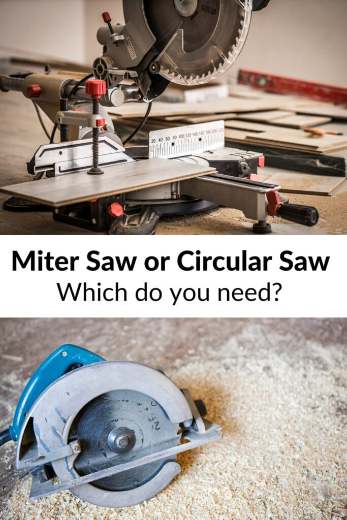 collage of miter saw and circular saw with text overlay