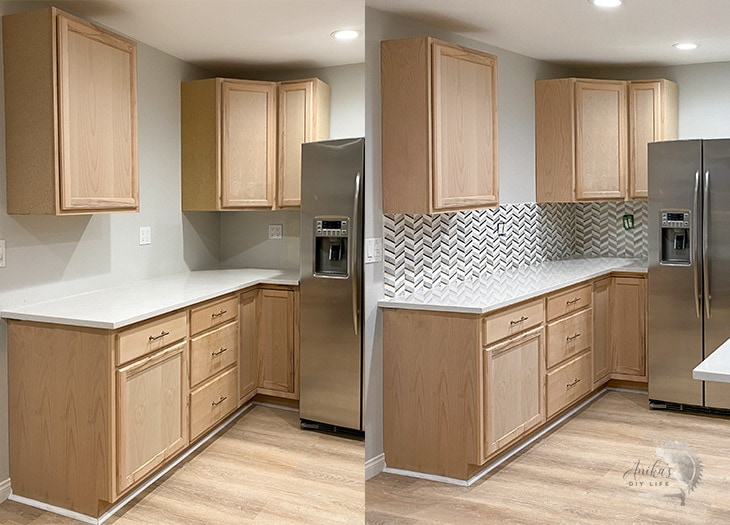before and after the backsplash in kitchen