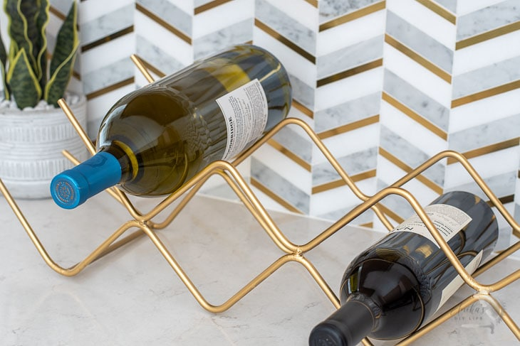 close up DIY metal wine rack
