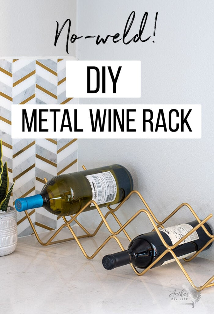 DIY metal wine rackon a counter with text overlay