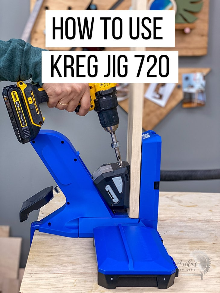making pocket holes in the Kreg Jig 720 with text overlay