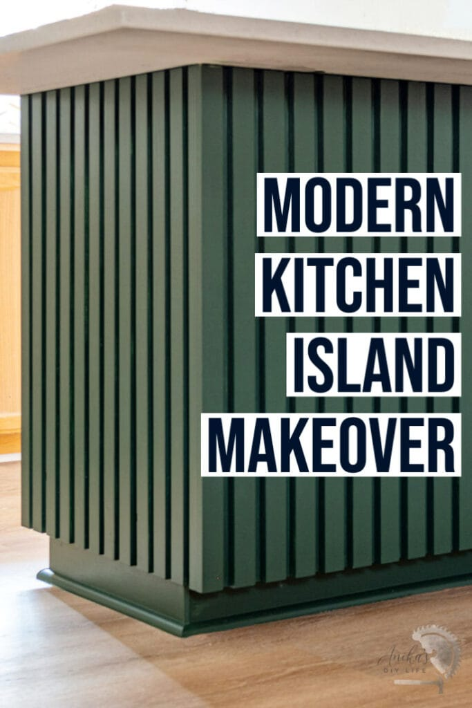 Dark green modern wood slat kitchen island with text overlay