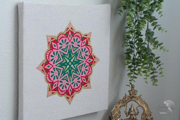 close up DIY mandala wall art