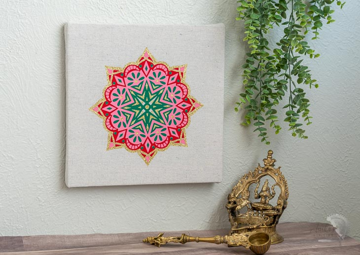 DIY Colorful mandala art in Indian living room