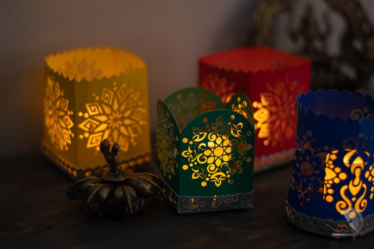 Indian inspired paper lamps with electric candles