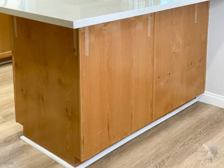 Brown before of kitchen island.