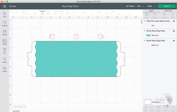 Parts of the Cricut Mug Design in design space