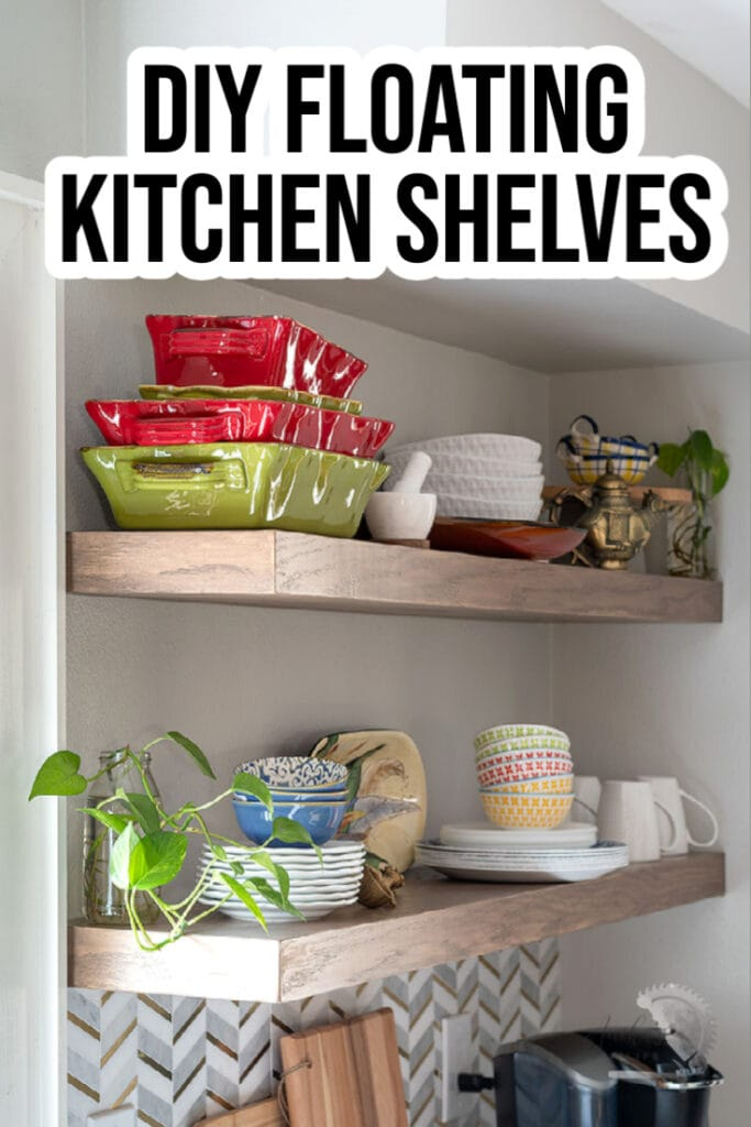 DIY floating shelves in a kitchen with text overlay