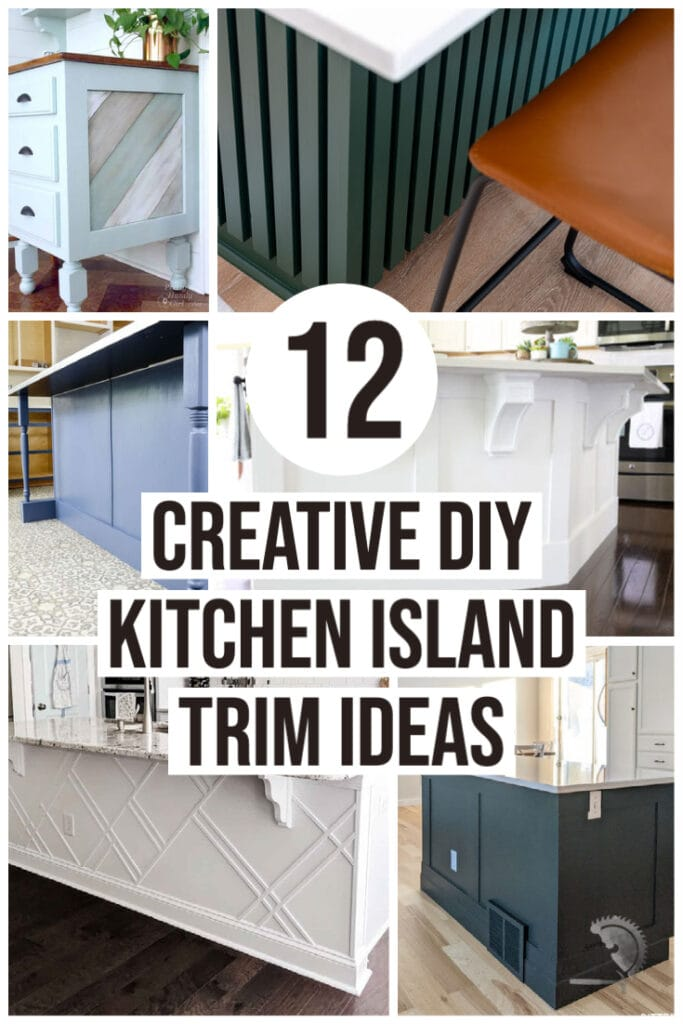 collage of diy kitchen island makeovers with trim with text overlay