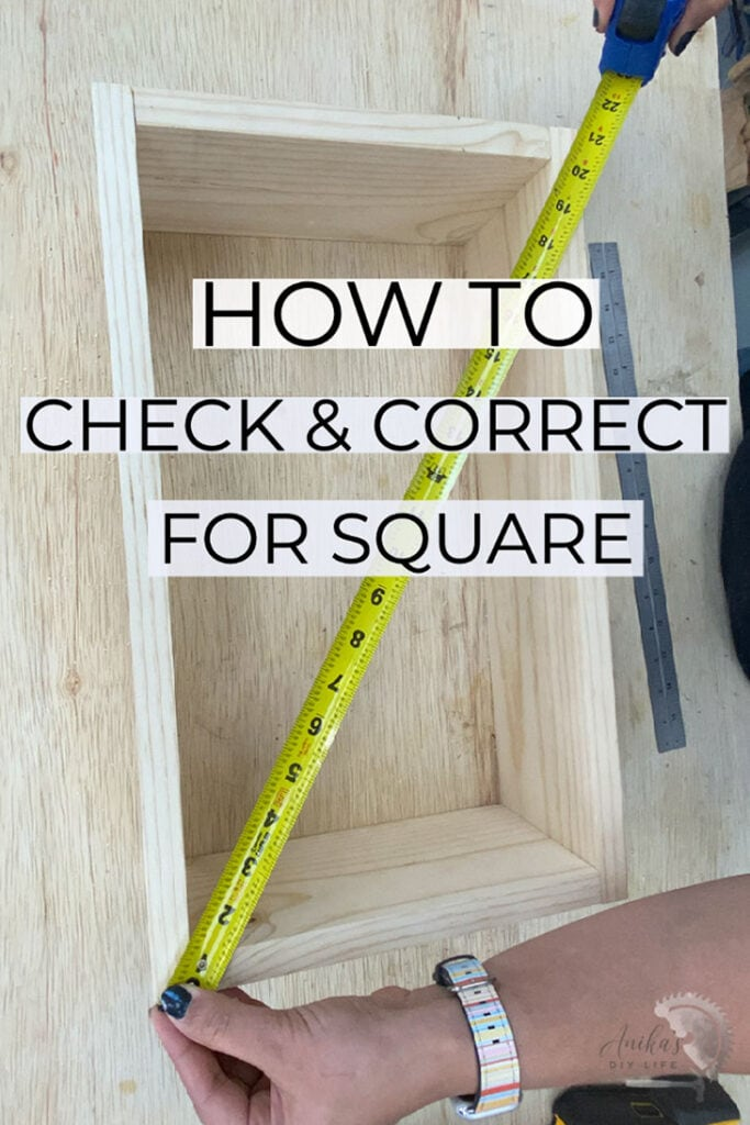 Checking for square using a tape measure with text overlay