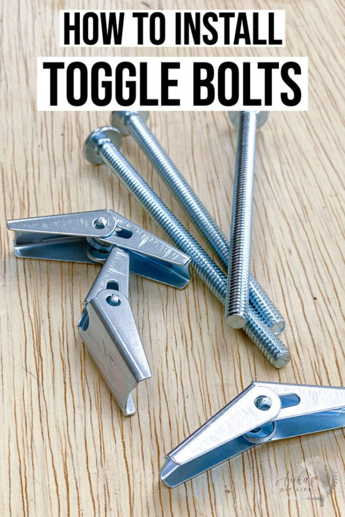 Toggle bolts on a workbench with text overlay
