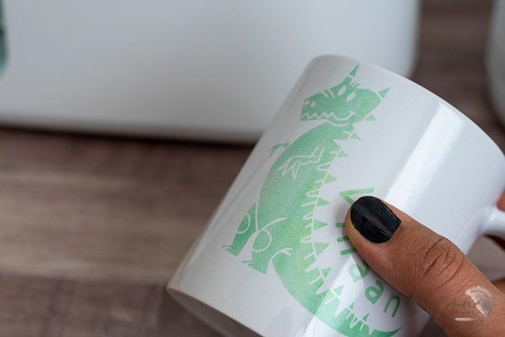 close up of mug made using the Cricut MugPress
