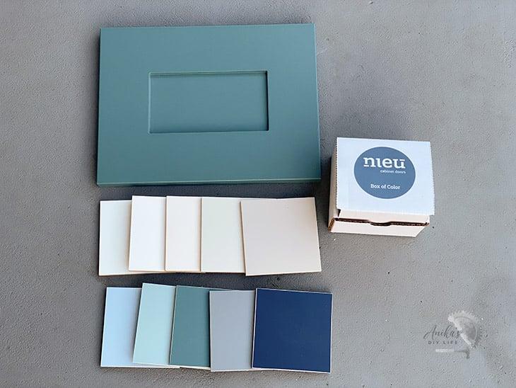 samples of Nieu Cabinet Doors on the floor