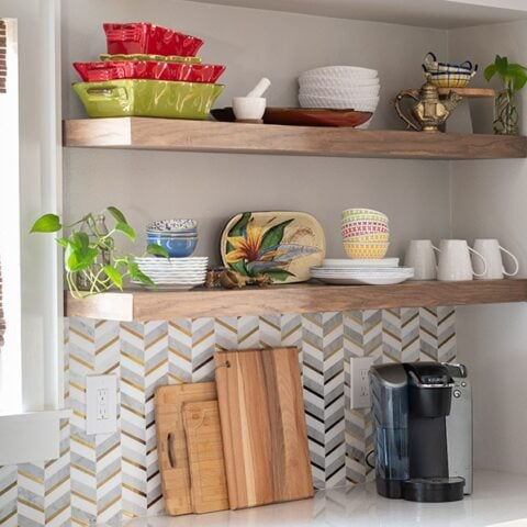 Learn how to build DIY floating shelves for your kitchen using plywood with this step-by-step tutorial and video for shelves of any size and length!