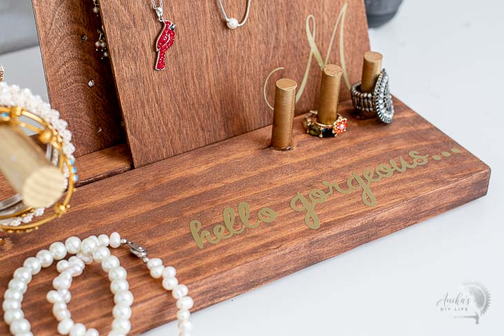 Close up of the customized DIY jewelry holder
