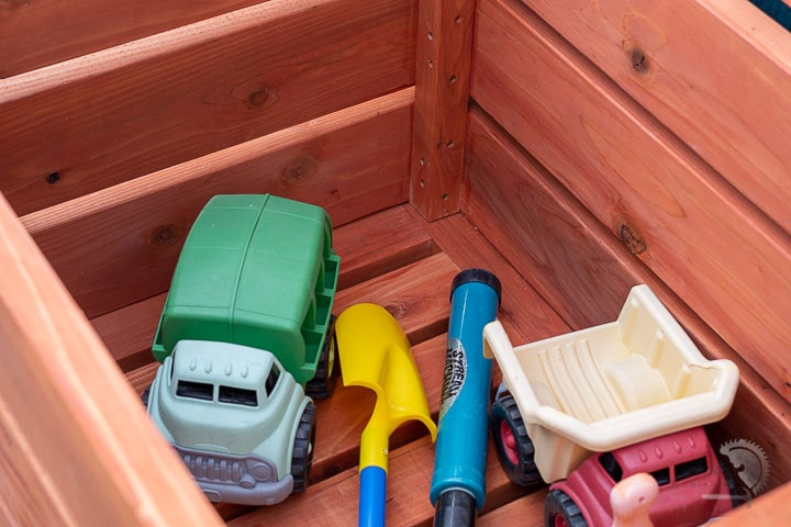 Toys inside the outdoor  DIY storage box