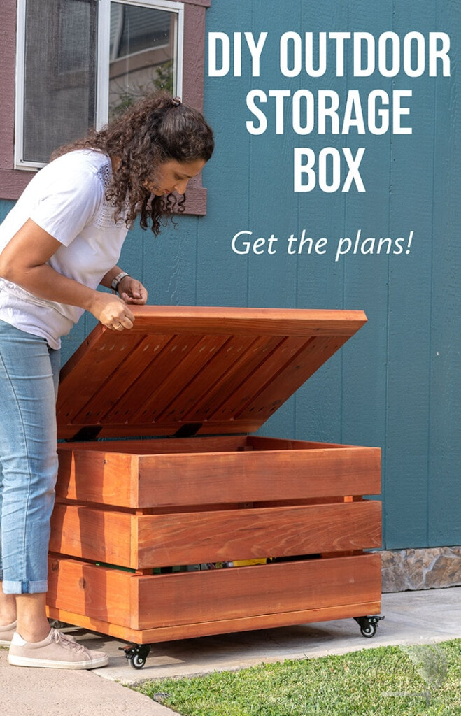 woman opening DIY outdoor storage box with text overlay