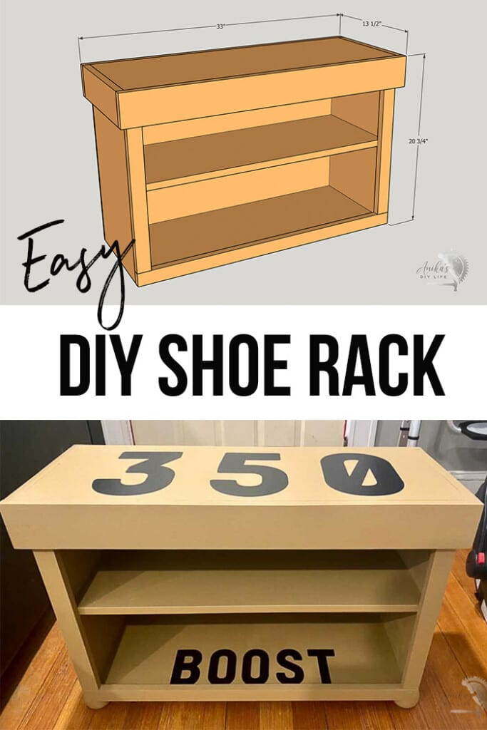 collage of DIY shoe rack and schematic with text overlay