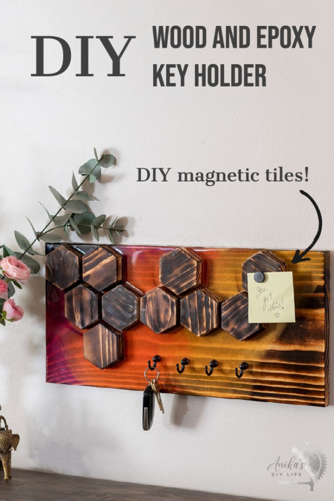 DIY wooden key holder with text overlay