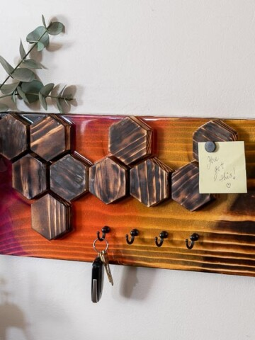 Learn how to make an easy but quirky DIY wall key holder with magnetic tiles using wood and colorful epoxy. It also makes a great mask holder.