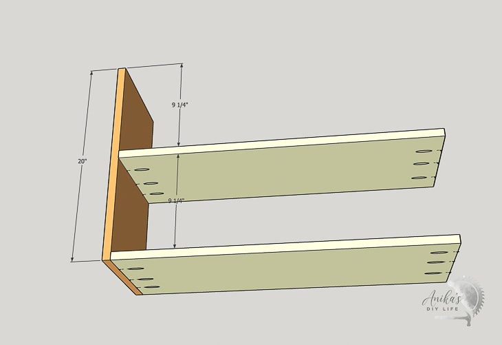 schematic showing attaching shelves to the side